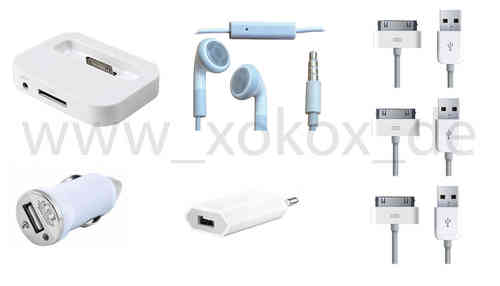 7 in1 Dockingstation iPhone 4 4s 3 Kfz Ladekabel USB Netzteil Datenkabel Headset
