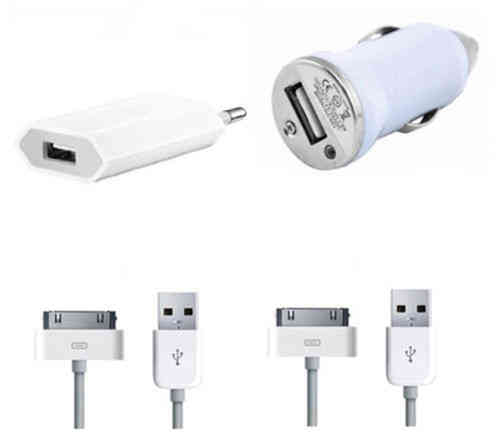 4 in 1 Apple iPhone 3 / 4 / 4S Netzteil Adapter KFZ USB Ladekabel Datenkabel