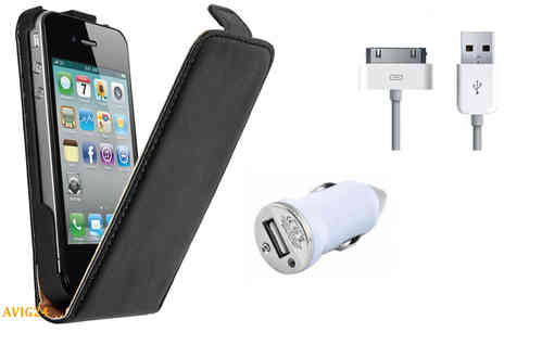 iphone 4 / 4S Ledertasche + Kabel + KFZ USB Adapter Set 2