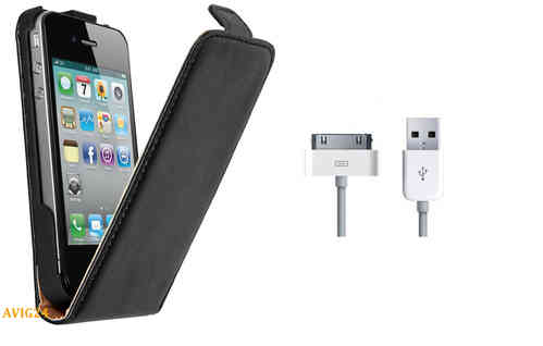 Iphone 4 / 4S Ledertasche Flip Case + Daten / Ladekabel Set 4