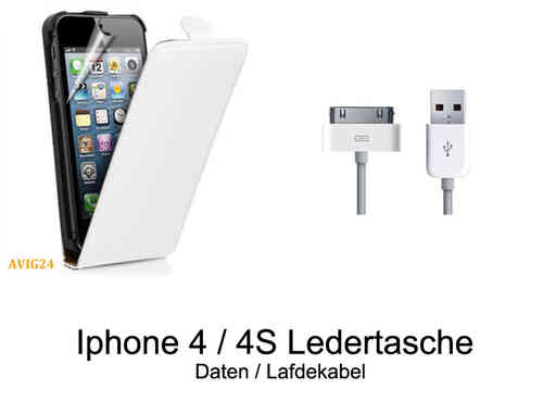 Iphone 4 / 4S Ledertasche Flip Case + Daten / Ladekabel Set 14