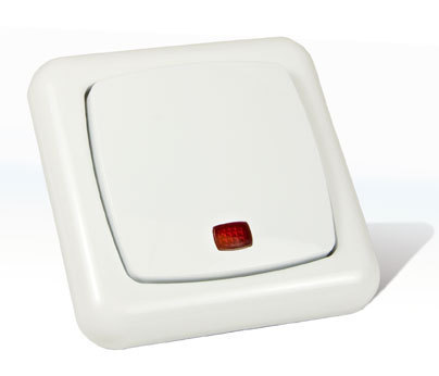 wechselschalter mit kontrolllicht und rahmen elegance. Black Bedroom Furniture Sets. Home Design Ideas